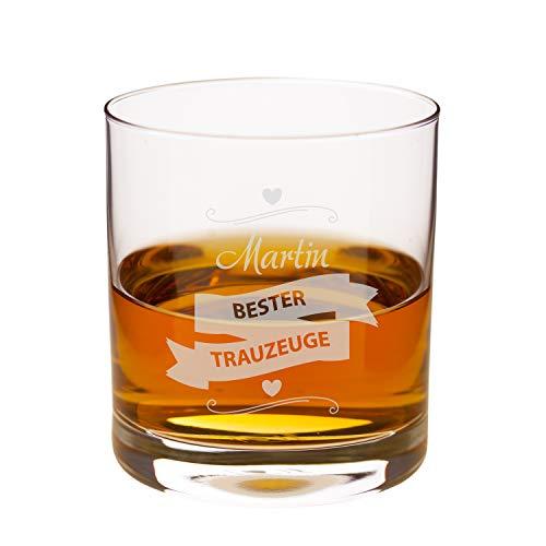 """Geschenke 24 Whiskyglas für Trauzeugen: gravierter Whiskytumbler """"Bester Trauzeuge"""" für Männer – persönliches Trauzeugengeschenk zur Hochzeit mit Gravur - mit Wunschname personalisiert"""