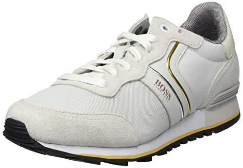 BOSS Herren Parkour_Runn_nymx2 Sneaker, Weiß (Natural 107), 44 EU