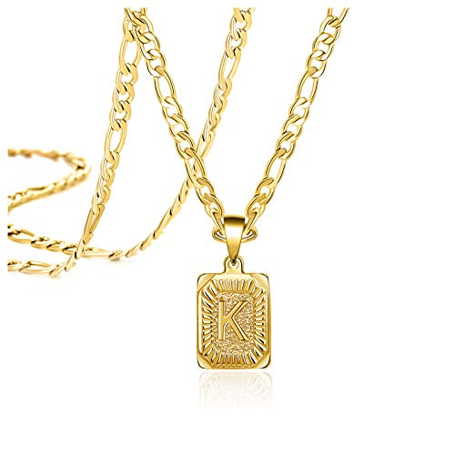 Christmas Gifts for Dad Son Brother Best Friend Necklaces for Men Boys Women Teens 18K Real Gold Capital K Letter Initial Medallion Pendant Trendy Personalized Handmade Stainless Steel Jewelry