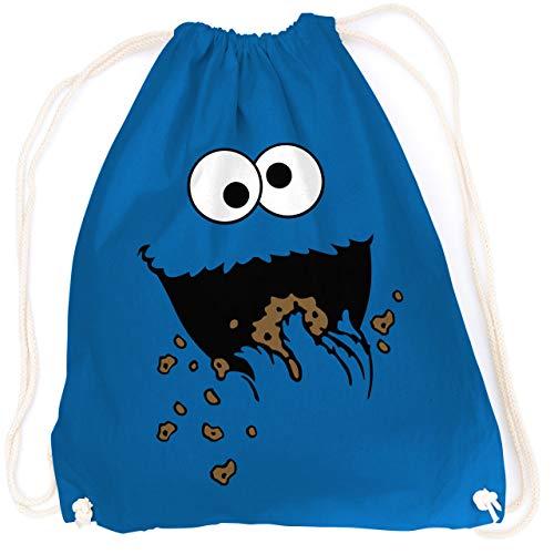 vanVerden Turnbeutel - Cookie Monster Keks-Monster - Karneval Fasching Kostüm - Rucksack & Stoff-Beutel mit Spruch, Farbe:Bright Royal (Blau)