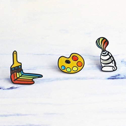PCBDFQ Brosche 3 Teile/Satz Malwerkzeuge Emaille Pin Farbe Pigment Palette Pinsel Pin Brosche Hemd Mantel Blatt Dornschließe Abzeichen