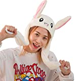 LIUHE Bunny Hat Ear Moving Jumping Hat Kawaii Plush Rabbit Ear Crazy Hat for Women Girls Kid Cosplay Christmas Party Holiday Hat