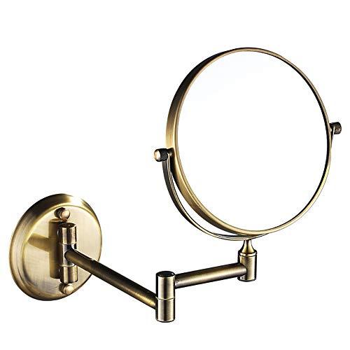 Kosmetikspiegel, Wandspiegel, Badezimmerspiegel, 7-facher Lupen-Spiegel aus Metall - Bronze