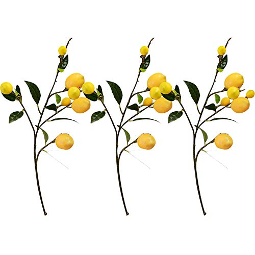 æ— Artificial Lemon Branches,36 Inch Vivid Yellow Lemon Decor,Artificial Floral Picks with Green Leaves,Spring Flowers Bouquet for Dining Room Table Home Kitchen Party
