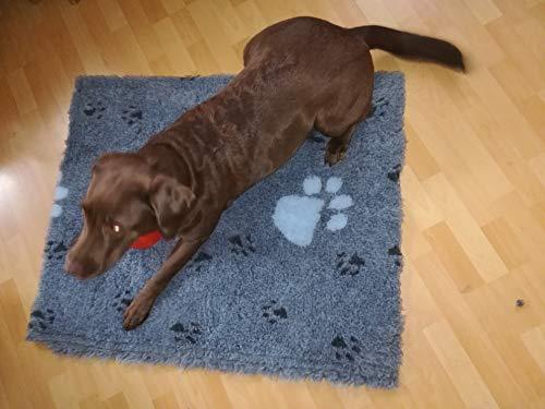 Original Drybed Rutschfest, in grau mit weißen Pfoten,Größe 100x75cm, Hundebett, Liegedecke, Hundedecke,Ruheplatz, Trocken