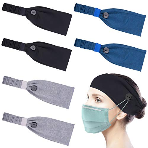 Socluer Sportlich Stirnband, 6 Stück Elastische Haarband Headband Kopfband Damen Herren Sport Ohrenschützer für Jogging, Wandern, Laufen, Fahrrad, Motorrad Fahren
