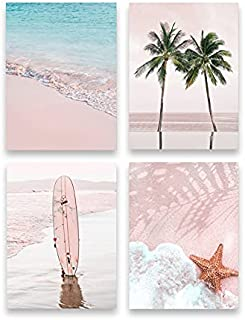 Miuisun Summer Beach Wall Art Decor Set of 4 Pink Sea Tree Wall Art Bedroom Tropical Landscape Canvas Prints Decor for Bat...