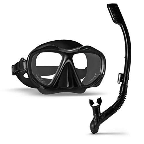 1 Set Professioneel Duikmasker Met Droge Snorkel Snorkel Anti-condens Zwembril Breedbeeld Onderwatersporten Zwemmen Eyewer, Zwart