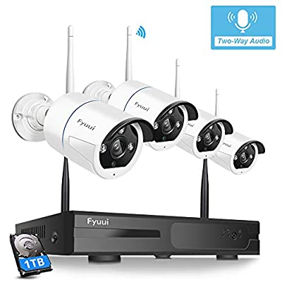 ?Two-Way Audio? Security Camera System Wireless, Fyuui 1080P 8 Channel Wireless Surveillance NVR with 1TB Hard Drive, 4pcs 2.0 Megapixel (1920×1080P) WiFi IP Bullet Camera Outdoor Indoor,Remote Access