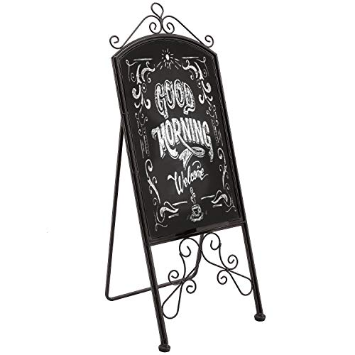 MyGift 42-Inch Vintage Scrollwork Brown Metal Sidewalk A-Frame Chalkboard Menu Sign/Freestanding Design Sandwich Board Easel