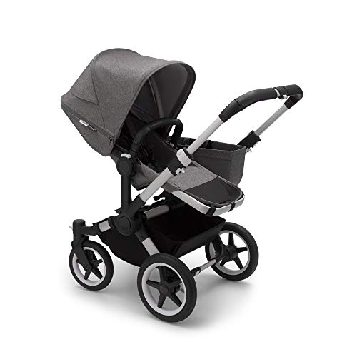 Bugaboo Donkey 3 Mono Single to Double Convertible Side by Side pram and Pushchair, Foldable Lightweight Stroller with Grey mélange Sun Canopy and Aluminium Chassis