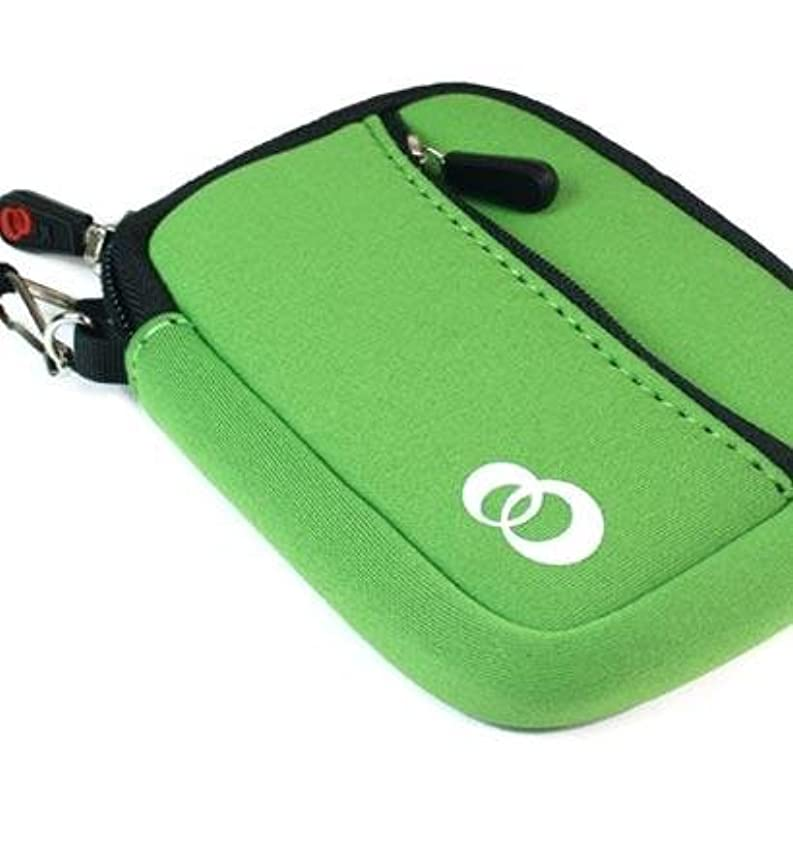"""- Green Color JJAK1 Soft Mini Neoprene SleeveLOOSE FIT with Front Pocket for SAMSUNG DUALVIEW DV300 DIGITAL CAMERA(16.0 MEGAPIXELS 5X OPTICAL ZOOM 3"""" SCREEN SIZE WIFI) (+ 1pc Name TAG) -- Best Seller on Amazon!"""