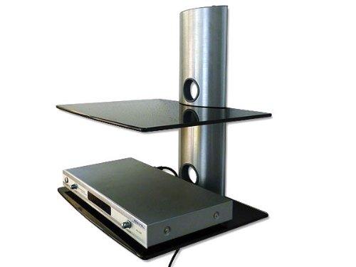 Wandhalterung - BLURAY- DVD-PLAYER SATELLITEN RECEIVER HIFI ANLAGE KONSOLE (passt für SAMSUNG PHILIPS SONY LG PANASONIC GRUNDIG ACER THOMSON TELEFUNKEN BLAUPUNKT TOSHIBA - LED LCD TFT Plasma Full-HD 3D Fernseher) - Wandregal mit 2 Glas Ablagen - SCHWARZ - Media Wandhalterung Halterung Wandhalter Glasregal - Modell: GL2