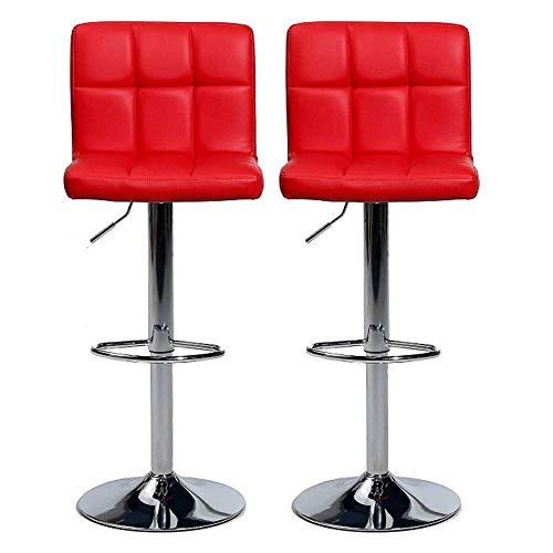 YUNC Barhocker Paar kubanische Barhocker Theke Küche und Familie Barstuhl * 2 Set mit verstellbarer Rückenlehne Gasfeder Chrom Fußhocker Stuhl,rot