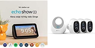 Echo Show 5, Nero + Ezviz 3 Smart Cameras Kit C3A 1080 p