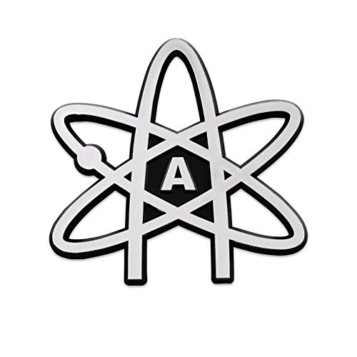 Atheist Atom Plastic Auto Emblem - [Silver][3 1/2'' x 3 1/2'']
