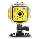 DROGRACE Kinder 1080P HD Digital Wasserdicht Sport Action Unterwasser Video Camcorder für Mädchen Jungen Geburtstag Urlaub Geschenk Kinder erste Kamera (gelb), klein -
