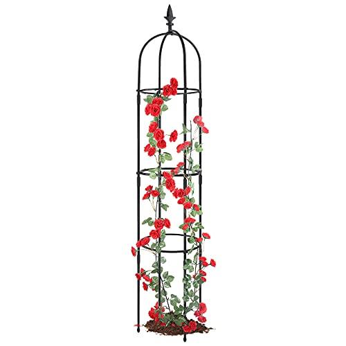 Garden Obelisk Trellis For Climbing Plants, Rustproof Plastic Coated Metal Plant Support, Garden Tower Trellis Indoor Potted Plant, Tomato Plant Cage For Support Rose, Vegetable Vines(1 Pack)