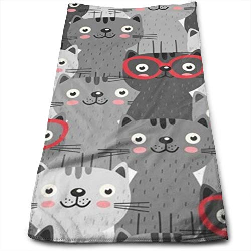 Toallas de gatos grises en gafas rojas, 11.8 x 27.6 pulgadas, toalla para muebles, baño, playa, yoga, camping, natación, deportes, hotel y spa, etc. Necesidades diarias