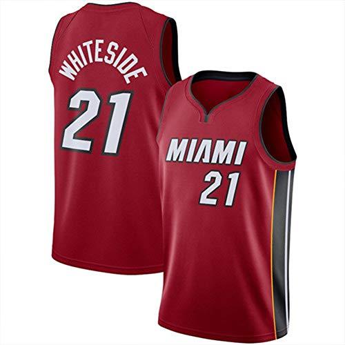 Whiteside 21# Heat - Camiseta de baloncesto sin mangas para verano, estilo retro, unisex, de alta calidad (S-XXL) rojo M