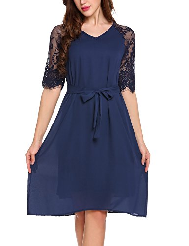 Parabler Damen Spitzen Kleid Chiffon Kleid Halb Arm Elegant A Line V-ausschnitt Gürtel