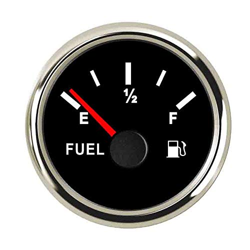 U/D. Kraftstoffanzeigen 52mm Wasserdicht Auto-Boot Kraftstoffanzeige for 0~190ohm Kraftstoffstand-Sensor mit Hintergrundbeleuchtung 9~32V (Color : Black Silver 12, Size : Kostenlos)