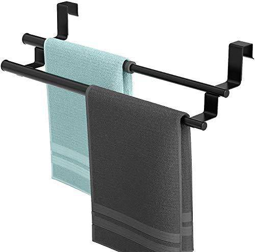 HapiRm Handtuchhalter Tür, Geschirrtuchhalter Handtuchstange Teleskop für Küche und Badezimmer, an Schublade und Schranktür Handtuchklemme ohne Bohren, Edelstahl, 2 Stangen