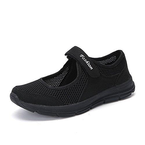MRULIC Mode Damen Schuhe Sommer Sandalen Anti Slip Fitness Laufen Sportschuhe Prinzessin Turnschuhe(Schwarz,34 EU)