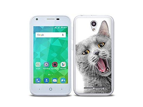etuo Handyhülle für ZTE Blade L110 - Hülle Foto Hülle - lächelnde Katze - Handyhülle Schutzhülle Etui Hülle Cover Tasche für Handy
