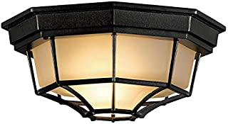 11.25-in W Black Flush-Mount Light Frosted Glass- Indoor or Outdoor