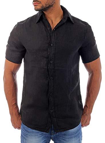 Young & Rich Herren Leinenhemd Kurzarm körperbetonte Passform sommerlich Leichter 100% Leinenstoff Slim Fit T3158, Grösse:L, Farbe:Schwarz