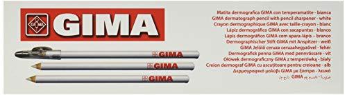 GIMA ref 3317 Lápices dermográficos, mina 4.4mm, dimensiones 175 x Ø 7 mm, madera de cedro, para marcar la piel, color blanco, paquete de 6 unidades, con sacapuntas, uso quirúrgico