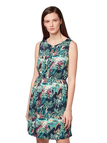 TOM TAILOR DENIM Vestido para mujer con estampado tropical colorido, talla XS.