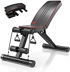 Image of Yoleo Adjustable Weight Bench - Utility Weight Benches for Full Body Workout, Foldable Flat/Incline/Decline FID Bench Press for Home Gym: Bestviewsreviews