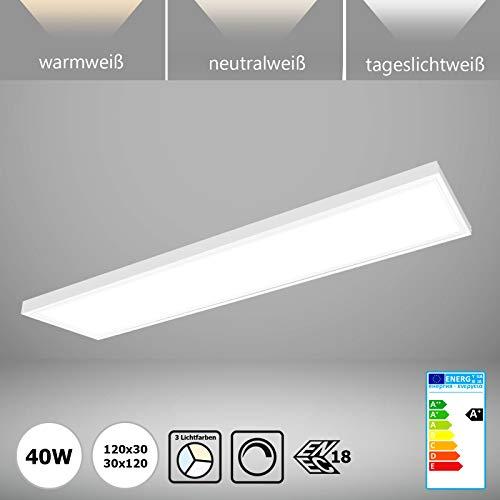 LED Panel 120x30 dimmbar mit Aufputz-Rahmen 40W Deckenleuchte Farben umschaltbar warmweiß neutralweiß tageslicht 3CCT Triac-Treiber ENEC Xtend PLs3.0