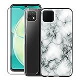 KJYF para Huawei Nova Y60 Funda + Cristal Templado, Case Caso Negro Suave Silicona Cover TPU Carcasa Vidrio Templado Protector para Huawei Nova Y60 (6.6') - Canica