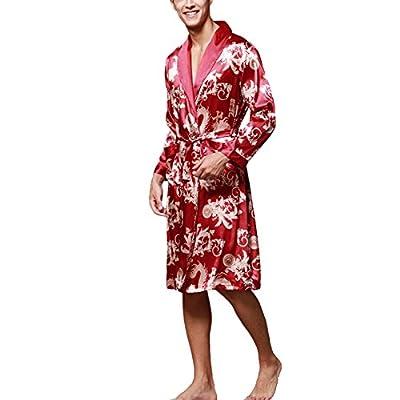 ONAMANO Men's Satin Robe Dragon Chinese Silk Spa Long Sleeve House Kimono Bathrobe
