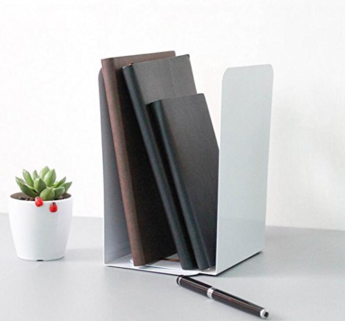 1pair Simple White Style Bookends Book Ends for Home Office Library School Study Decoration Gift (White)
