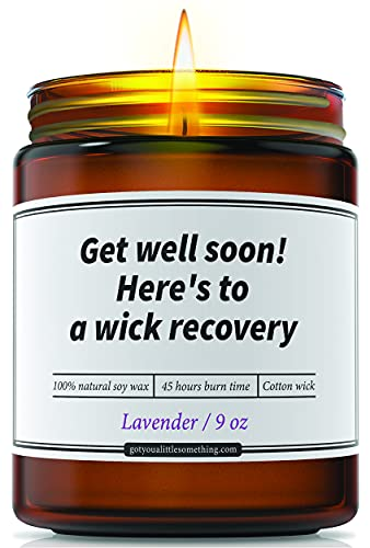 Funny Get Well Lavender Candle - Get Well Soon Gifts Care Package for Women & Men After Injuries Surgeries Disease COVID Flu Cancer - Feel Better Gifts for Sick Friend Mom Sister Coworker BFF Grandma