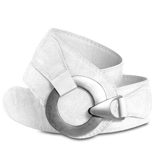 Caspar GU243 Cinturón Ancho para Mujer con Hebilla Grande de Metal, Tamaño:80, Color:blanco
