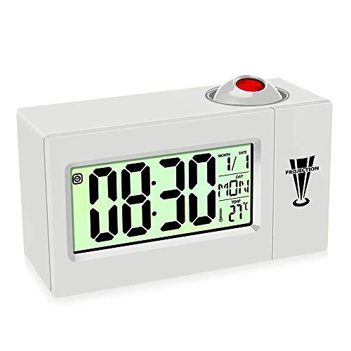 KIPIDA Projektionswecker, Wecker mit Projektion LED Digitaler Wecker USB Tischuhr, 4,3 Zoll LED-Anzeige Dimmer,12/24h Sleeper Timer mit Temperatur/Timer/7 Sprachen/Alarm (Weiß)