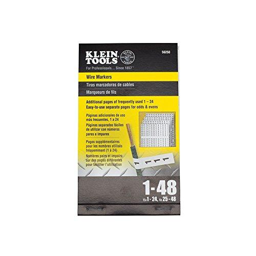 Klein Tools 56250 trådmarkörer nummer 1-48 standard Black Print on White