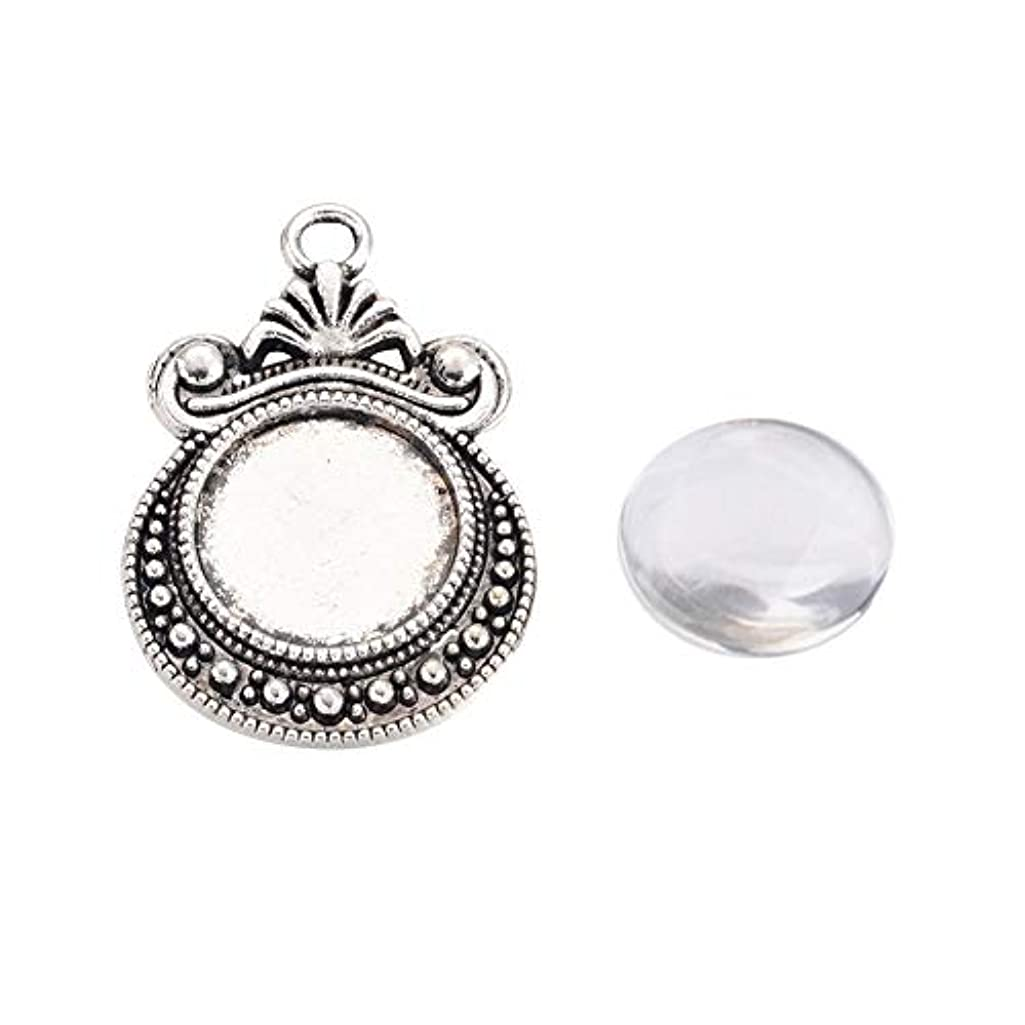 ARRICRAFT 20 Sets Alloy Antique Silver Pendant Cabochon Settings with Round Glass Cabochon Cover for DIY Pendant Making, Tray 12mm