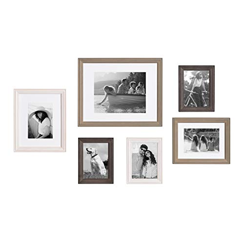 Kate and Laurel Bordeaux Gallery Frame Wall Kit, Set of 6 with Assorted Size Frames in 3 Different Finishes - Whitewash, Charcoal Gray, and Rustic Gray