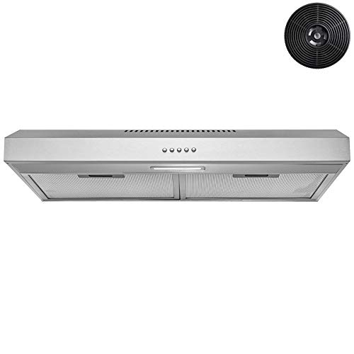 AKDY 24 in. 58 CFM Under Cabinet Convertible Range Hood with LED and Carbon Filters (Stainless Steel)