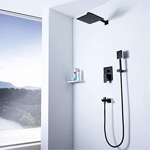 MZXUN Cuadrado de 10 pulgadas Top aerosol de la ducha Sistema caliente y frío juego de ducha de cobre grifo de la ducha de 3 modos Negro del hogar de pared Hermosa práctica