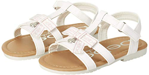 bebe Girls' Sandals ? Open Toe Leatherette Gladiator Sandals with Bow and Charm (Toddler), Size 7 Toddler, White