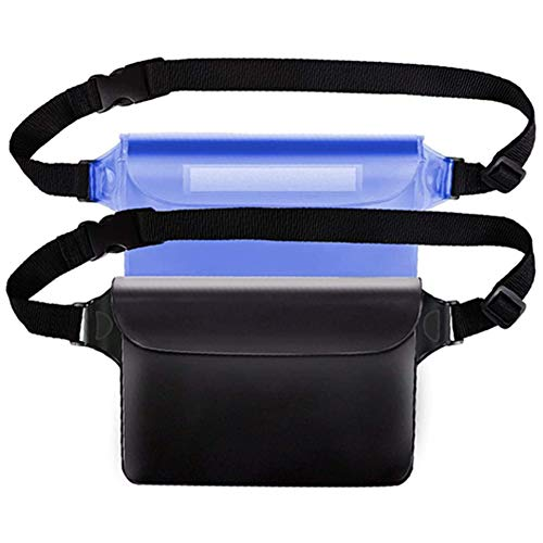 Nicejoy Pantalla De Bolsa De Bolsa Impermeable Touchable con Correa De Cintura Ajustable para Nadar Buceo Pesca Playa Black Blue 2pcs