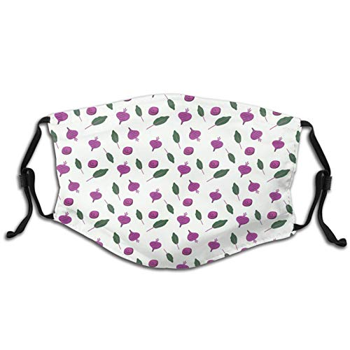PET Fabric Mouth & Nose Shield, Washable Bandana Face Mouth Protective Cover, Stretchy, Adjustable Length,With Filter,Pattern Of Beetroots And Leaves