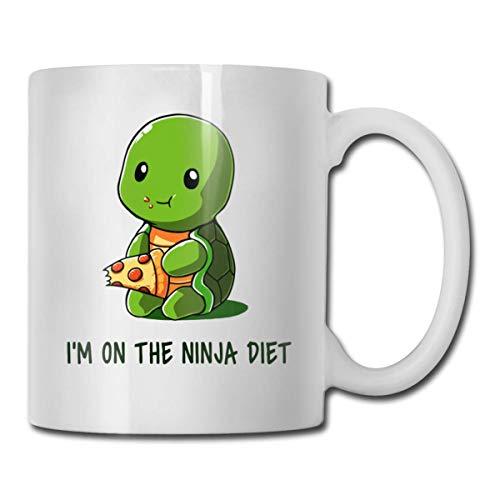 Taza de café de 11 oz Tortugas I 'm On The Ninja Diet Tazas de té de cerámica Regalo de cumpleaños para la familia